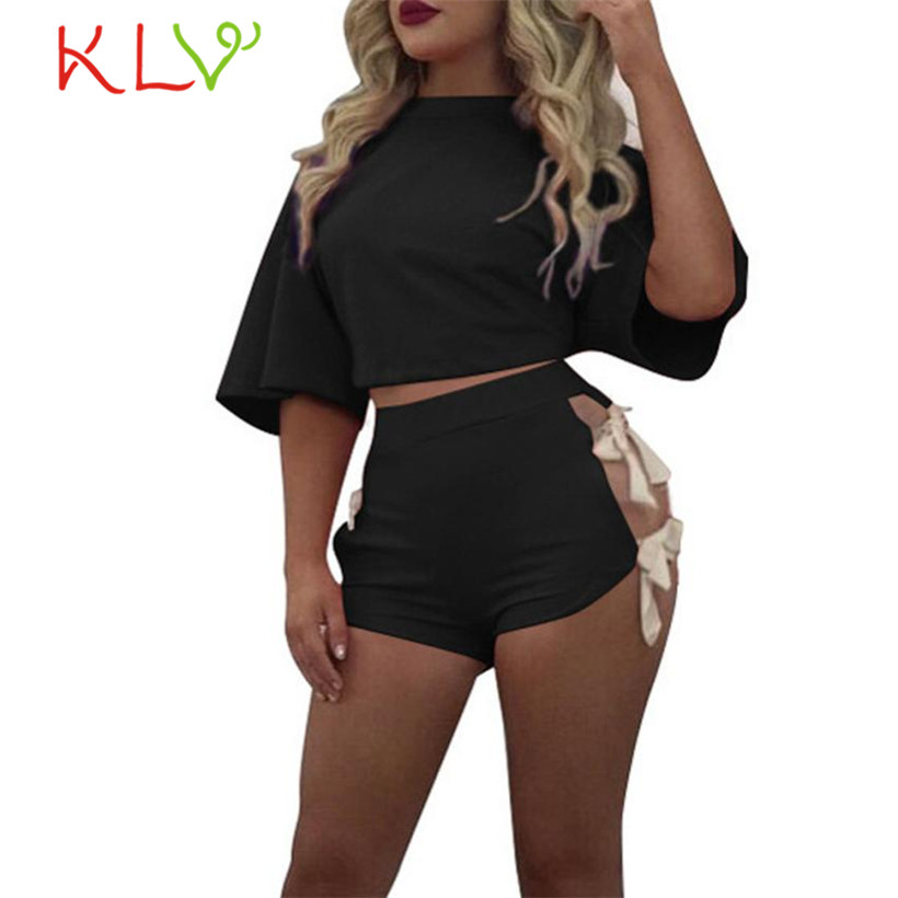 KLV Fasion Hot Sexy ženy Letní O-Neck Bavlna Krátký rukáv Bandáž 2dílná Sada Neformální Šortky Neformální Oblečení Sportovní Oblečení 45