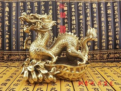 China brass copper carved exquisite groundnut lucky dragon Sculpture Statue
