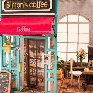 Image 4 - Robotime 아트 인형 집 DIY 미니 하우스 키트 가구와 미니 인형 집 어린이를위한 사이먼의 커피 완구 소녀의 선물 DG109