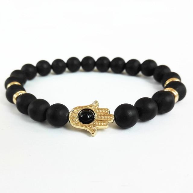 Gold Silver Hamsa Hand Charms Bracelet Yoga Mala Bracelets Nature 8mm Black Matte Onyx Energy