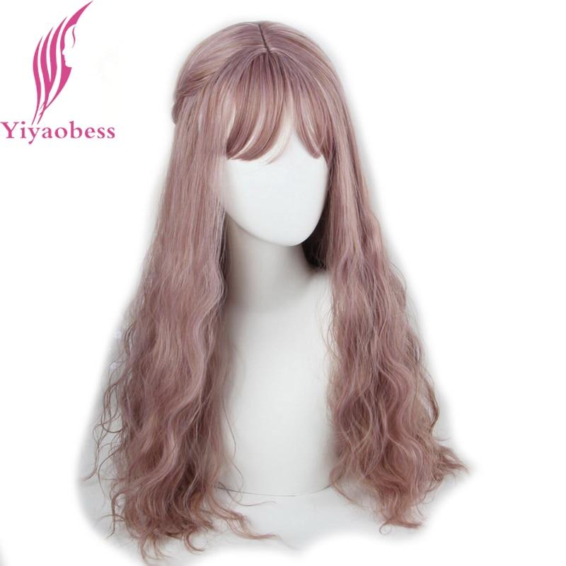 Yiyaobess 65cm långa wavy peruker med bangs värmebeständig - Syntetiskt hår - Foto 5