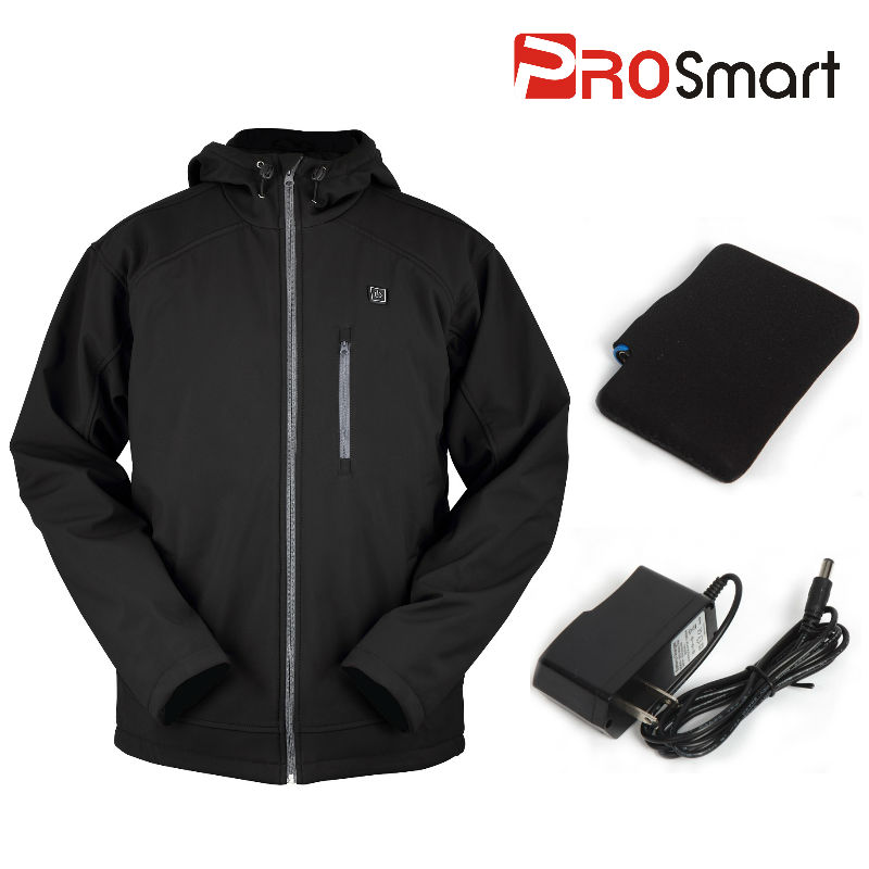 New arrival PROsmart Men's Black Battery Heated Hooded