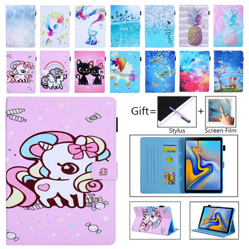 Case For Samsung Galaxy Tab A 10.1 2019 T510 T515 SM-T510 SM-T515 Cover Funda Tablet Painted Unicorn Cat Stand Shell +Film+Pen