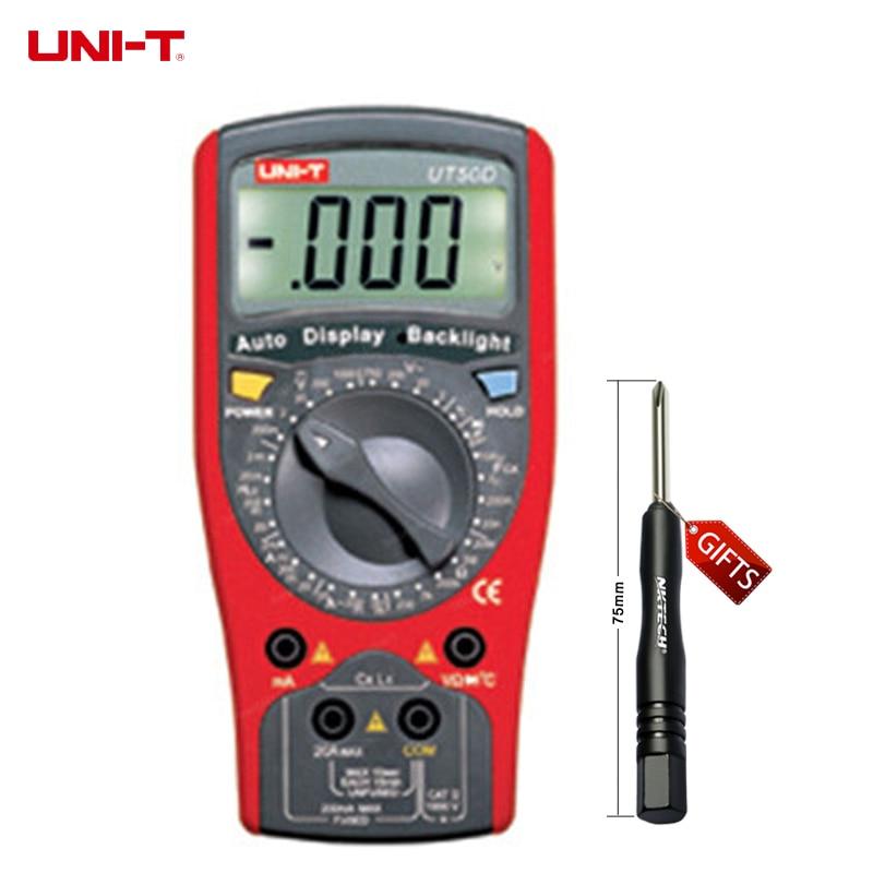 UNI-T UT50D LCD Digital Multimeter DC AC Volt Amp Ohm Capacitance Tester мультиметр uni t uni t ut71b alicate amperimetro ac dc