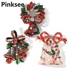 Модные хрустальные стразы рождественские броши в виде колокольчика