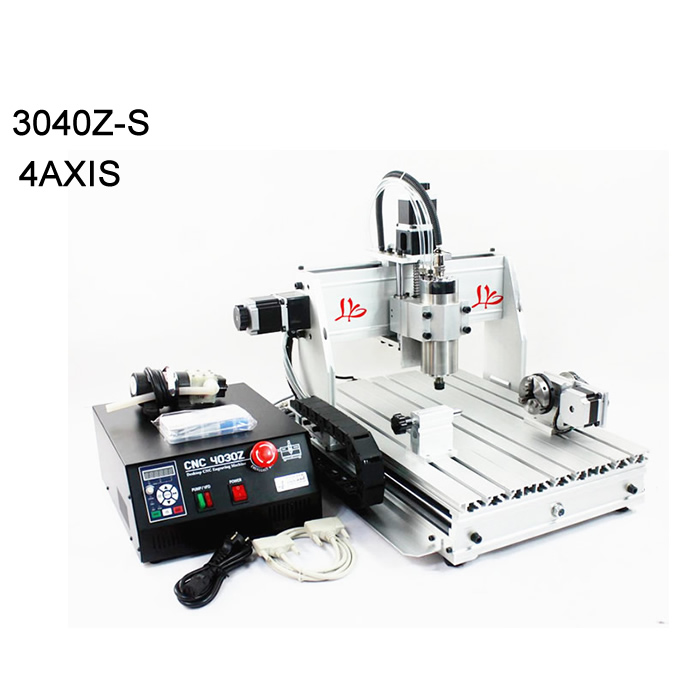 0.8KW VFD water cooling spindle cnc cutting machine 3040 engraving router with water pump work travel 410(X)mm*280(Y)mm*75(Z)mm wood router lathe cnc machine 3040 4030 with ball screw 800w vfd water cooling spindle