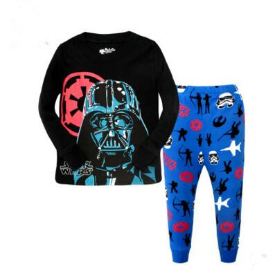 Spring Children Boy Kid Clothing Sets Star War Suits 2pcs Top+Pants Sleepwear Long Sleeve Movie Cartoon Pajamas Sets Home Wear lovely spring pure cotton thomas and friends children clothing long sleeve tops pants for 2 7 years boy kids pajamas sleepwear