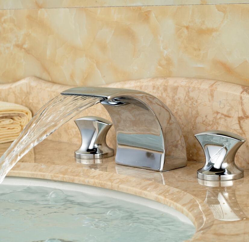 Widespread Waterfall Vessel Sink Basin Faucet Dual Handles Deck Mount Bathroom Mixer Water Tap Chrome Finish