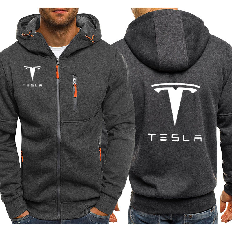Hoodies Men Tesla Car Logo Print Casual Hip Hop Harajuku Long Sleeve Hooded Sweatshirts Mens Zipper Jacket Man Hoody Clothing