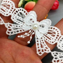 Bow-Lace Ribbon Trim Beaded-Tassel Crafts Decorative Wedding-Dress Pearl Applique Sewing