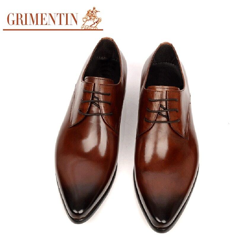 Boda Cuero Genuino Masculinos Derby Grimentin Negro Encaje Zapatos brown Moda Hasta Marrón Drss Italiana Hombres Black rFxPqr