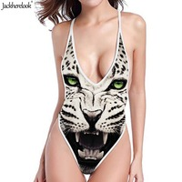 Jackherelook Tiger Lion Head 3D Print Cool Swimwear Women Deep V One Pieces Swimsuits Fashion Thong Bathing Suit Halter Bandage