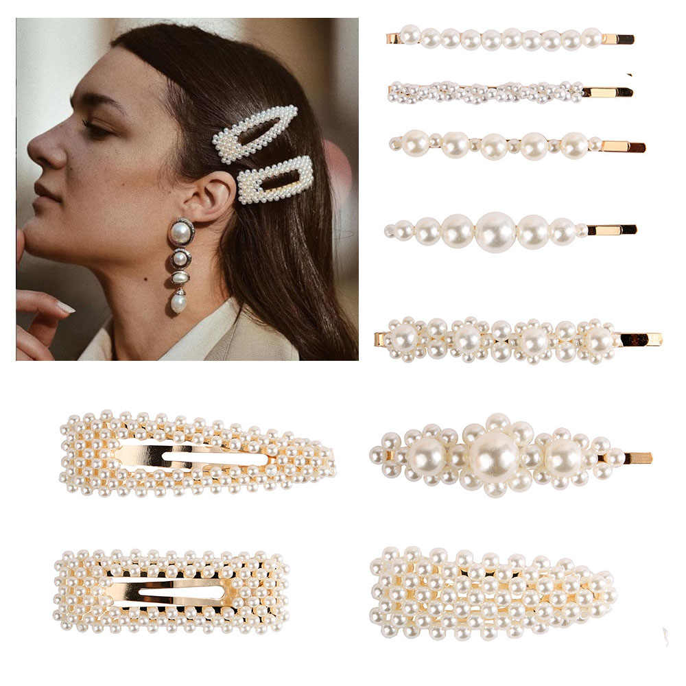 Newest Elegant Korean Fashion Pearl Hair Clip for Women Design Snap Barrette Stick Hairpin Set Hair Styling Accessories