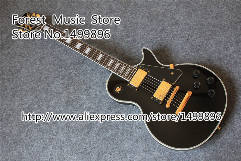 Hot Selling Chinese Black LP Custom Electric Guitar Mahogany Guitar Body & Kit Custom Available In Stock hot selling matte tiger flame finish lp standard electric guitars with solid mahogany guitar body in stock