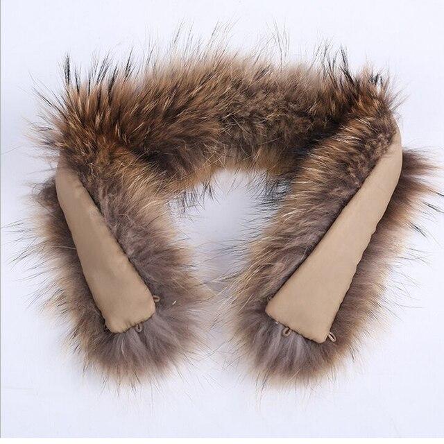 Brand Besty Women Real Raccoon Dog Fur Collar for Parka Down Coat 100% genuine raccoon fur 70cm length winter scaves