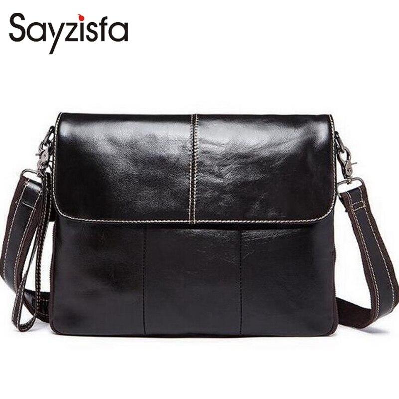 Sayzisfa New Men Envelope bag 2017 Genuine Leather messenger bags for men handbags huge capacity male's best Cow Leather bagT241