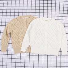 Children Sweater Autumn Winter Cotton Knitted Cardigan Hollow-Out Lattice Baby Sweater Top Jacket 1-6Y Sweater Retro