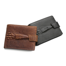купить Brand Men Wallets Dollar Price Purse Crazy Horse Leather Men Wallets with Coin Pocket Crocodile Pattern Card Holder Purses дешево