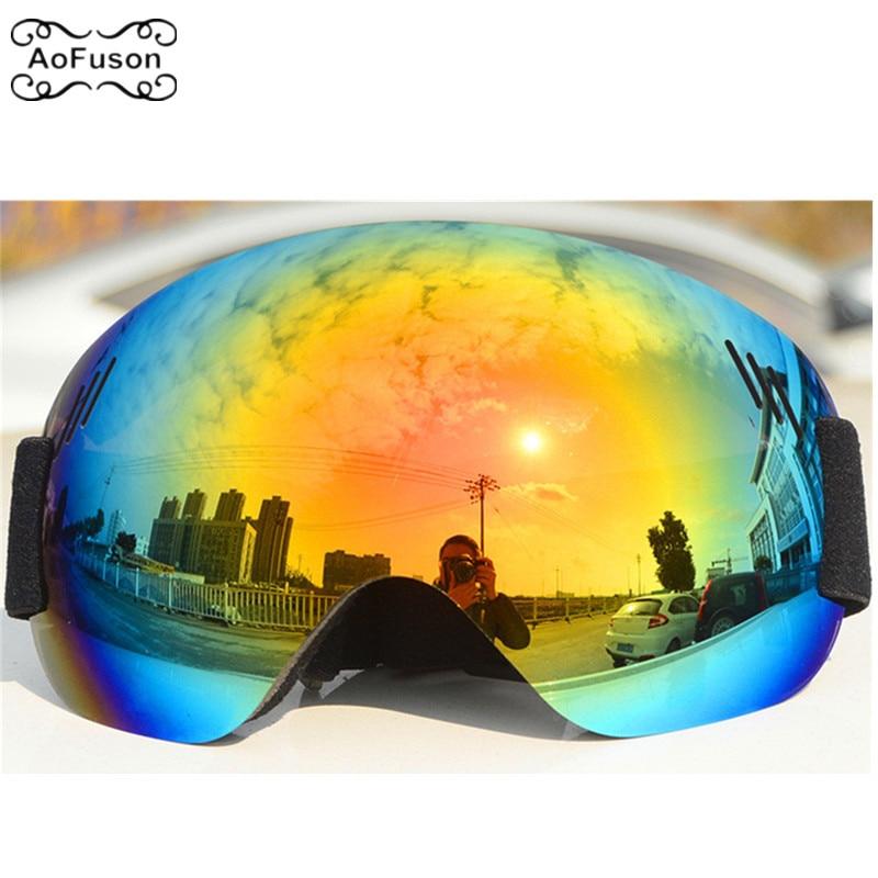 Ski Goggle UV400 Big Spherical Large Field Of View Snowboard  Snowmobile Snow Glasses Single Layer Frameless Eyewear