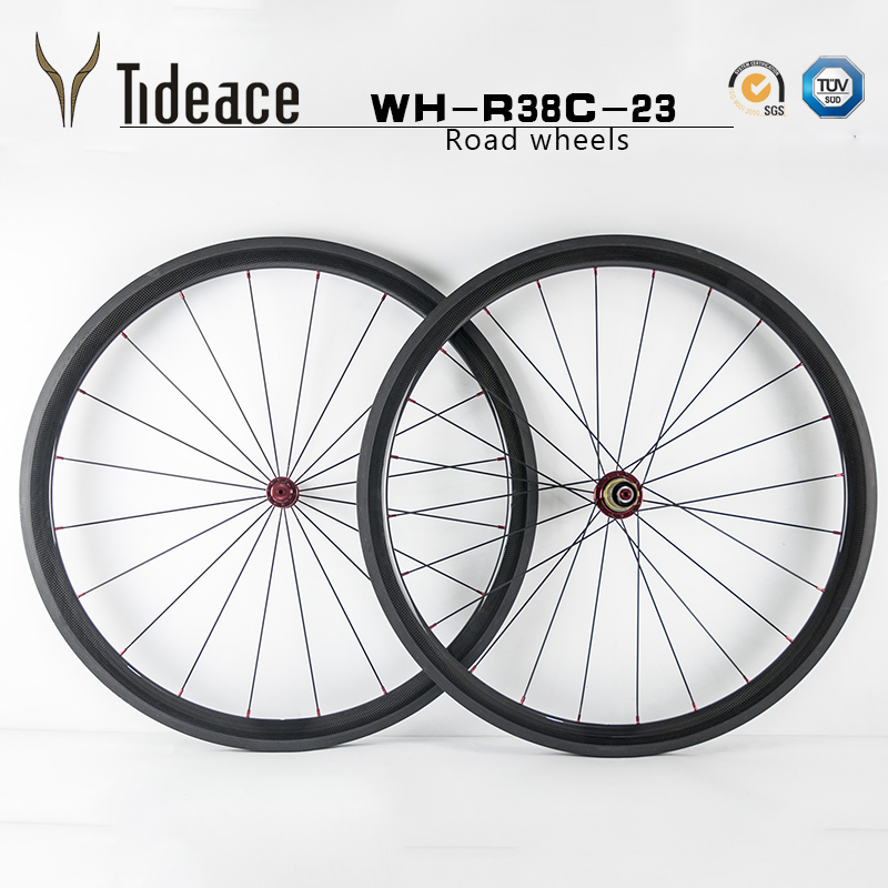 2017 Cheap Ultra Light road Bicycle Wheels 38mm*23 Carbon clincher/tubular fixed gear wheelset 700C Carbon Rim 38mm Wheelset track frame fixed gear frame bsa carbon 1 1 2to 1 1 8 bike frameset with fork seatpost road carbon frames fixed gear frameset