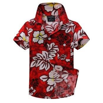 Coton lin mélangé chemise florale chemise hawaïenne aloha chemise pour garçon T1530