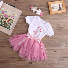 3PCS Baby Girl Birthday Clothing Set
