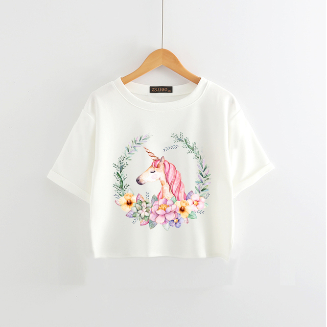 8acee49e3b0 Wreath Unicorn Women T Shirt Summer Cute Cartoon Print Casual Short Sleeve  Soft T Shirts Women Unicorns Tee Tops TShirt Hwd021
