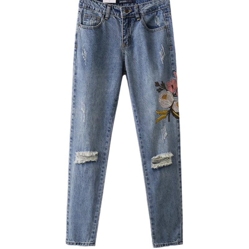 Women's Jeans straight New Casual Pants Womens Jeans Denim  Loose Embroidery Pants Female Straight Female Jeans  Floral Pattern casual loose sleeveless embroidery leaf pattern cami