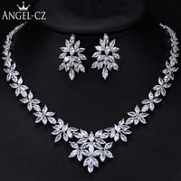 ANGELCZ Luxury Flower Women Wedding Cubic Zirconia Crystal Necklace Earrings African Bridal Party Jewellery Sets For Women AJ119