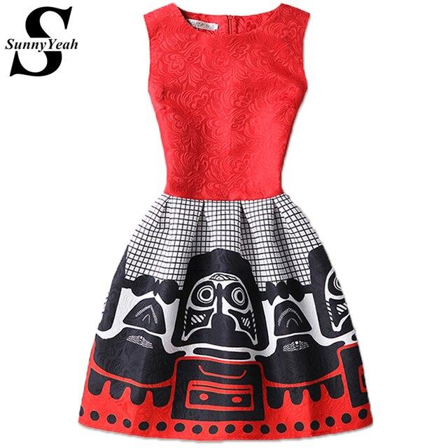 Vestido де феста 2017 Летом Старинные Dress Женщины Марка Строки Красный Элегантный Партия Платья Дамы Ретро плюс размер женской одежды