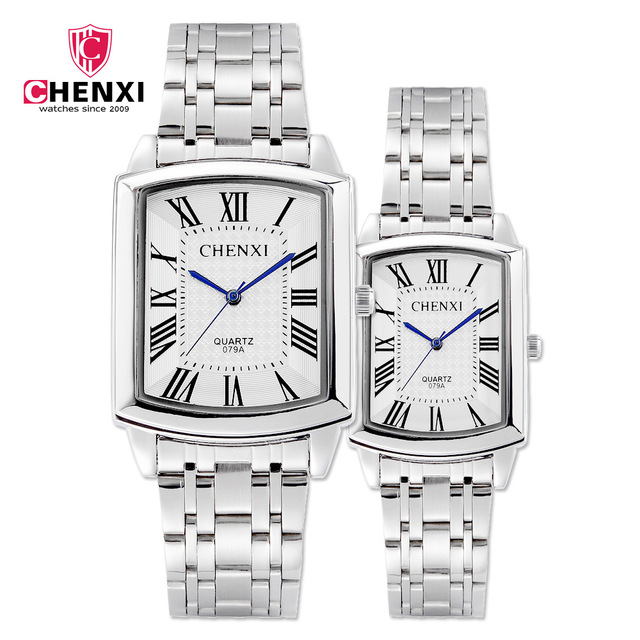 Silver Square Couple Watches Women Men Romantic Elegant Casual Lover's Watch Rom