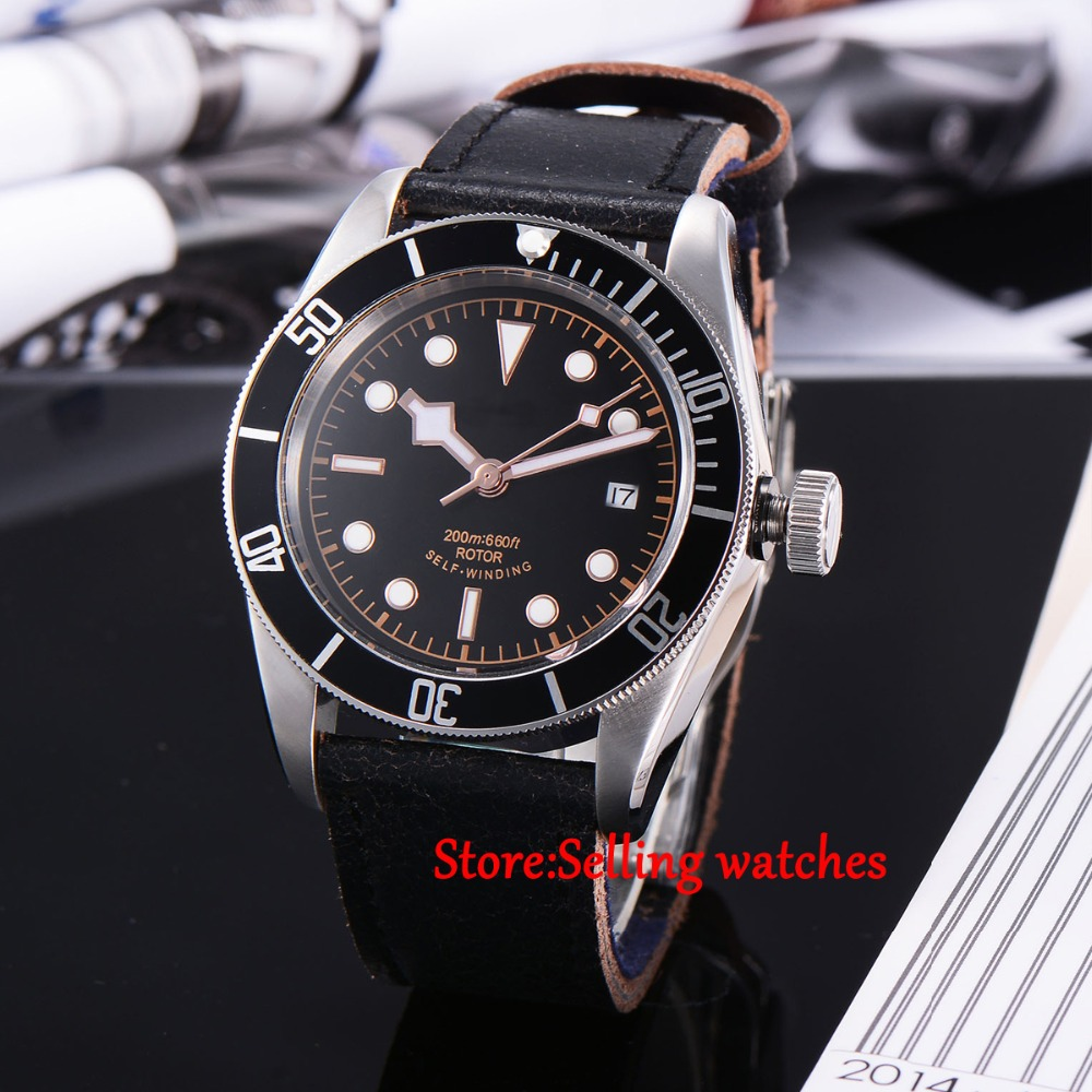 лучшая цена 41mm corgeut black dial luminous Sapphire Glass Automatic mens diving Watch C05