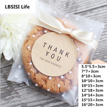 100pcs 7sizes Frosted Cute Dots Plastic Pack Candy Cookie Soap Packaging Bags Cupcake Wrapper Self Adhesive Sample Gift Bag