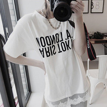 Summer Women's New Slim Cotton Short Sleeve T-Shirt Urban Casual Floral Lace Cutout, Printed Top floral embroidered cutout cropped bell sleeve top