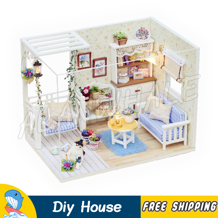 Miniature Doll House Kitten Cat Diary Swing Chair DIY Wooden Dollhouse Furnitures Adult Teenager Toys Model Building Gifts Sets