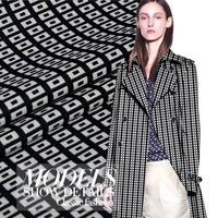 145cm wide black and white square grid print wool yarn dyed autumn and winter overcoat clothes fabric diy patchwork material