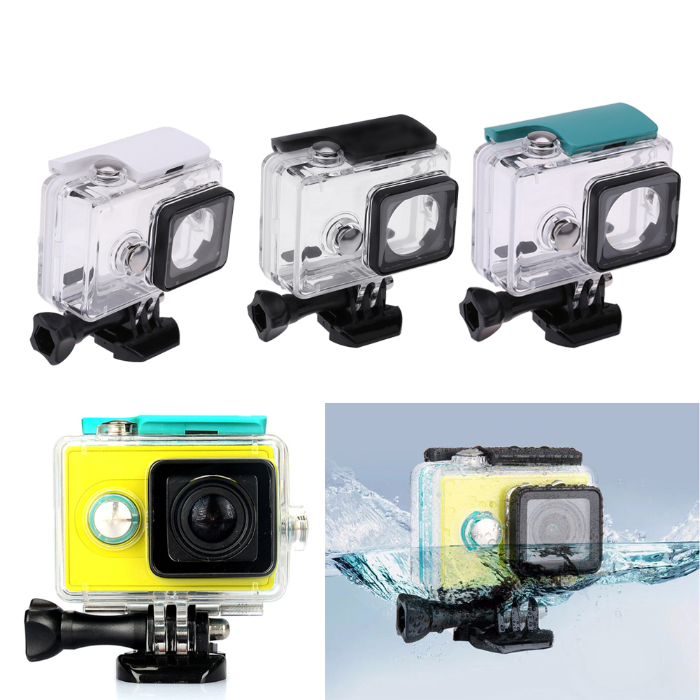 Casos câmera Subaquática 45 m Waterproof Case Habitação de Protecção À Prova de Choque Transparente Caixa De Mergulho para Xiaomi Yi 1 Sports Camera
