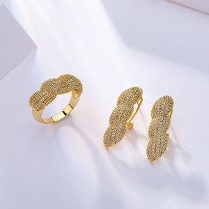 Image 4 - Viennois דובאי סגנון תכשיטי זהב נשים מצופה טבעת צמיד שרשרת שרשרת ועגילי תכשיטי סט 4 ב 1 תכשיטי סט