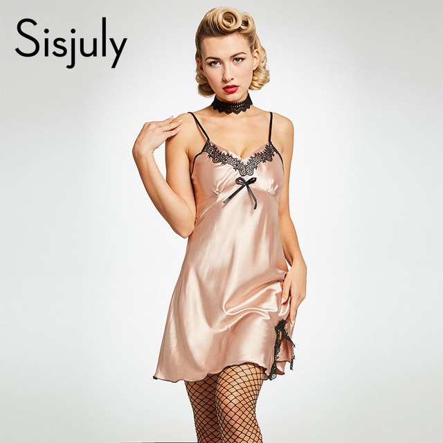 43d999916 Sisjuly women nightgowns sexy lace bowknot sleepwear spaghetti strap plain  pullover sleeveless female fancy mini night dress