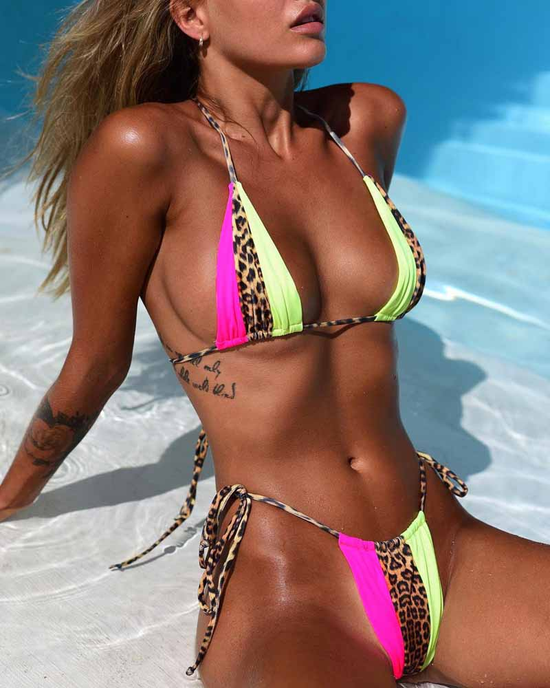 <font><b>Triangle</b></font> Leopard <font><b>Bikinis</b></font> 2019 Mujer Biquini Neon Green String Tie Tiny <font><b>Bikini</b></font> <font><b>Sexy</b></font> Thong Swimsuit push up Micro Bathers 3939 image