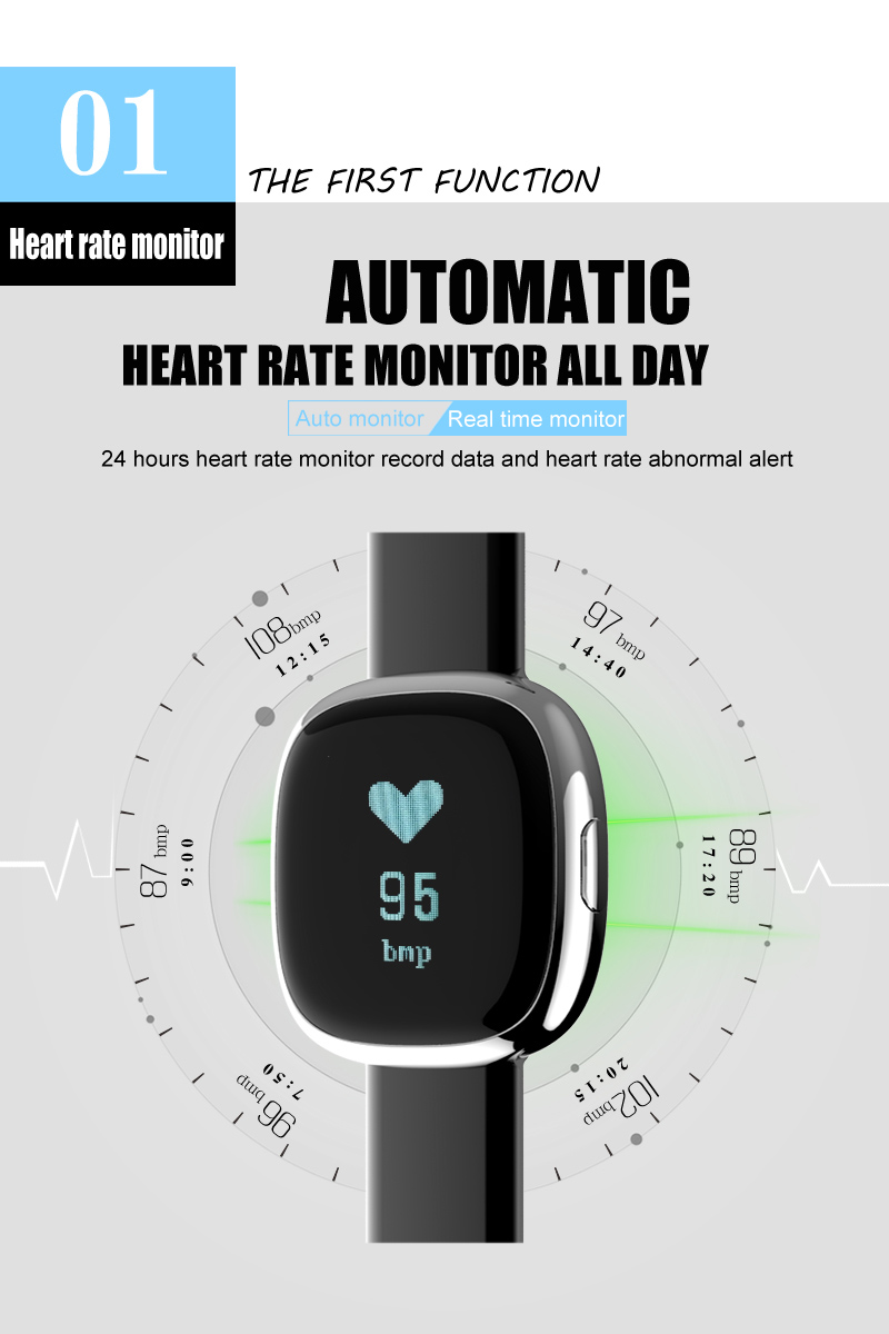 Heart Rate Pulse Monitor Smart Band Sleep Fitness Tracker Blood Pressure Bracelet Pedometer for Andriod IOS iPhone 7 Meizu Watch 8
