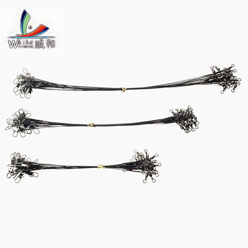 Cheap 10 Pcs /lot 3 Size  Fishing Line Wire With Swivel Connector Spinning Bait Tracer Anti-Bite Black Line Fishing Accessories