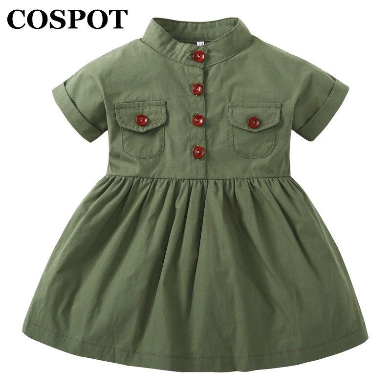 COSPOT 2018 New Baby Girls Dress Army Green Short Sleeved Summer Casual Princess Dresses Summer Children Clothing Baby Dress E50
