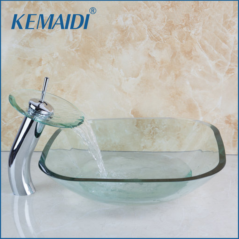4048 1 Waterfall Chrome Glass Tap Faucet Square Bathroom Art Washbasin Clear  Tempered Glass Vessel Sink Set