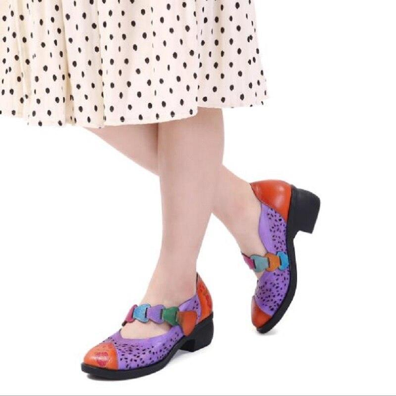 Chaussures Blue Frotter Main Impression Femmes Bout Taille Boucle Talons Rond La purper Sabot Courtes Plus À Bottes 20181103 Véritable Épais Fine En Cuir Nouveau q87tB7