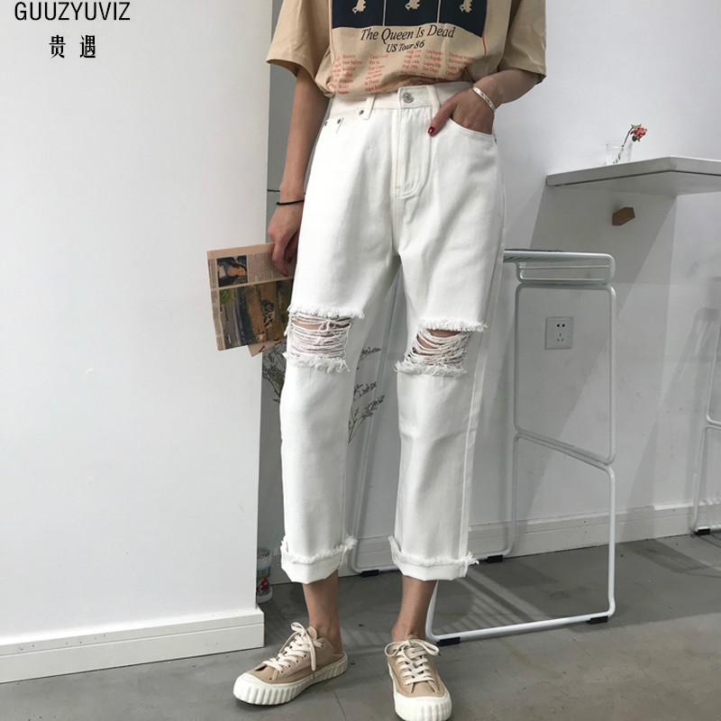GUUZYUVIZ Plus Size High Waist Hole Women Jeans Summer Casual Cotton Black White Washed Ripped Denim Vintage Pants