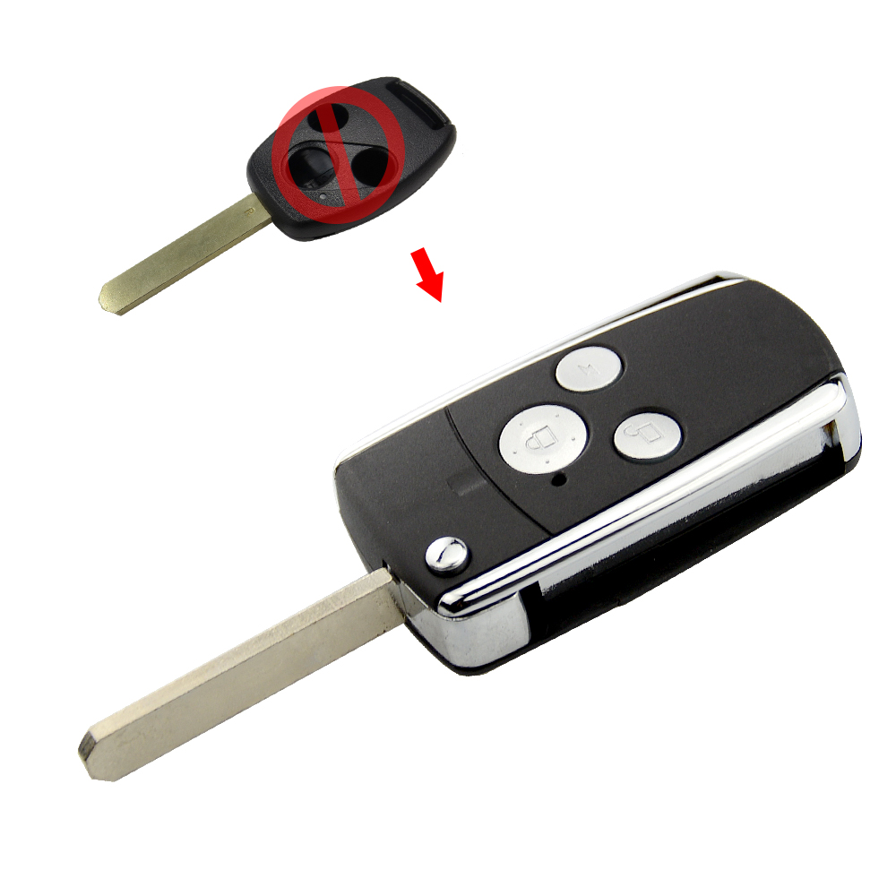 OkeyTech Folding <font><b>Remote</b></font> Car Key Shell Fob Case for <font><b>Honda</b></font> <font><b>Accord</b></font> CRV Civic Fit <font><b>Flip</b></font> 3 Buttons Car Key Replacement Uncut Blade image