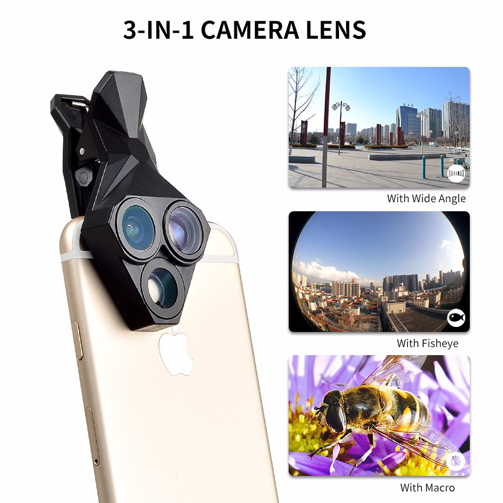 APEXEL arrival Camera Lens Kit 3 in 1 Fisheye Lens Wide Angle Macro mobile phone Lens Kit for iPhone Android Xiaomi APL-YT3 4