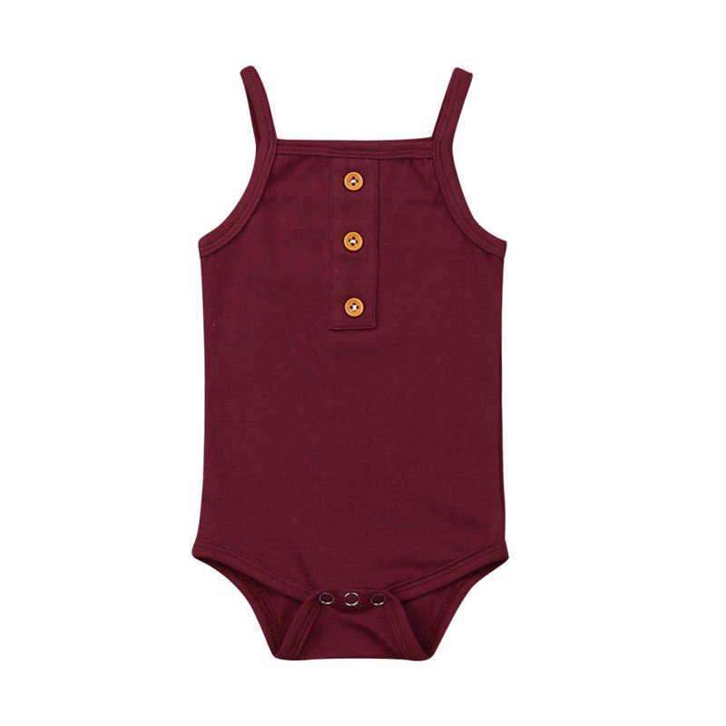 Recién Nacido bebés niñas niños Sling mamelucos verano ropa de algodón sin costuras botón Playsuit mono niños playa vacaciones Sunsuit