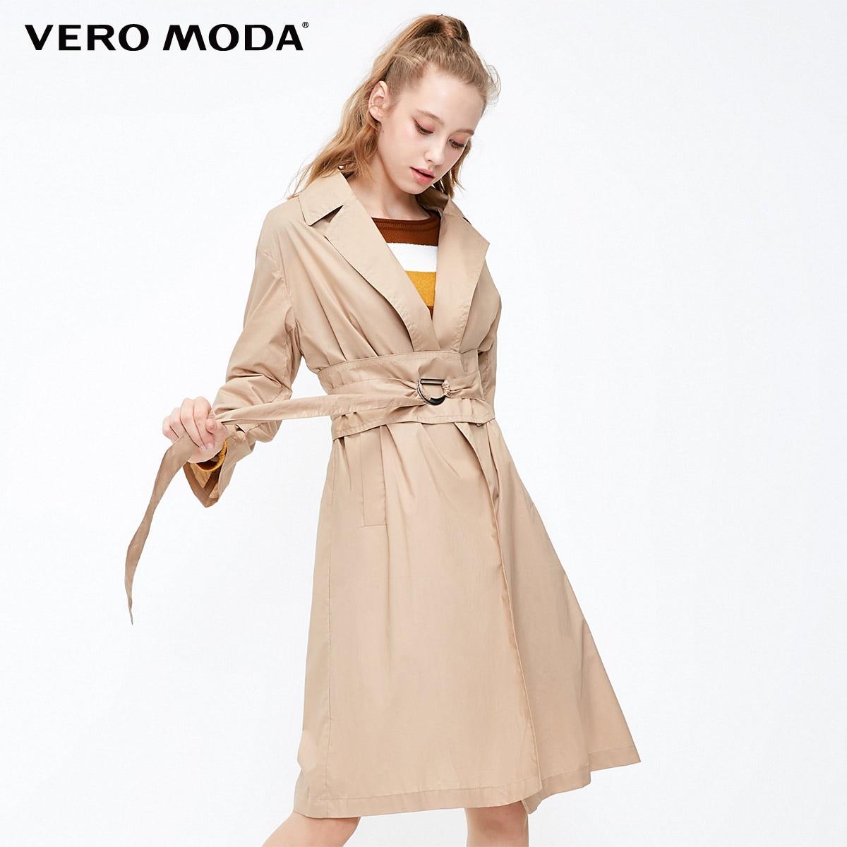 Vero Moda 2019 New Women's Detachable Buttoned Waist Belt Lapel Wind Coat   Trench   Coat   318421505